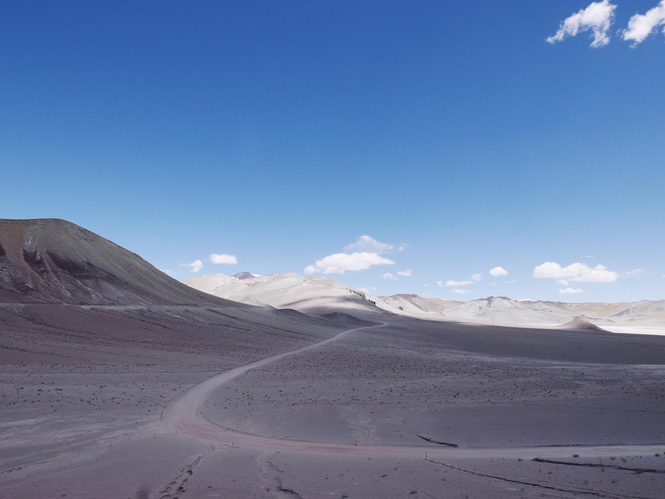 Dusty alien landscape before the Argentinian border.