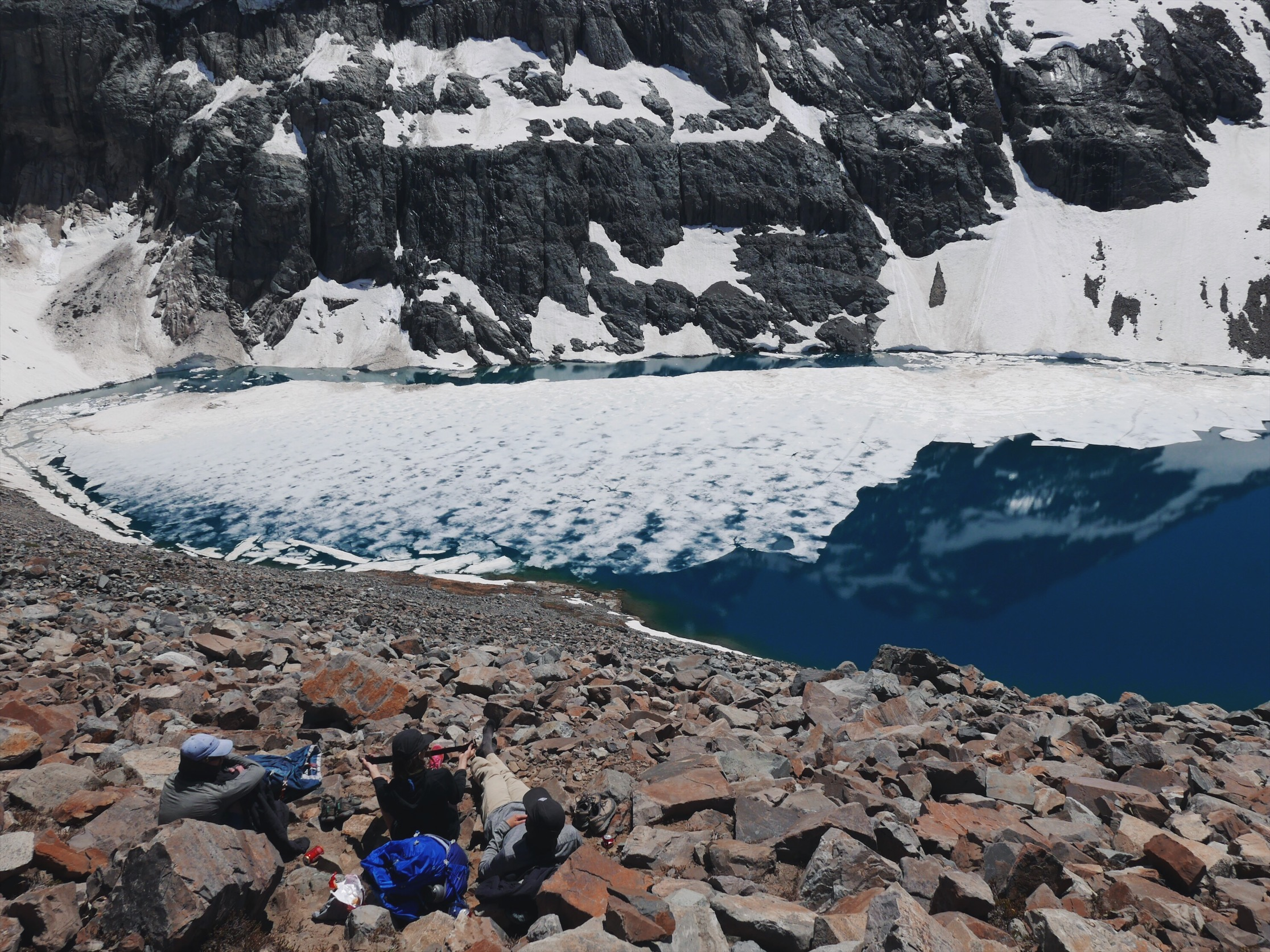 Cerro Castillo and its half frozen laguna.