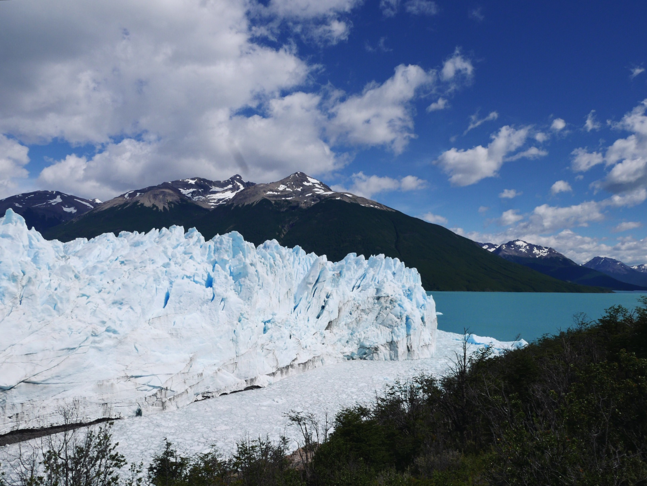 Perito Moreno is the only glacier in Patagonia that's actively advancing rather than disappearing. While, the exact reason for this is a matter of debate, it's still nice to see a bright white glacier rather than the hundreds of muddy, melting piles we've seen elsewhere.