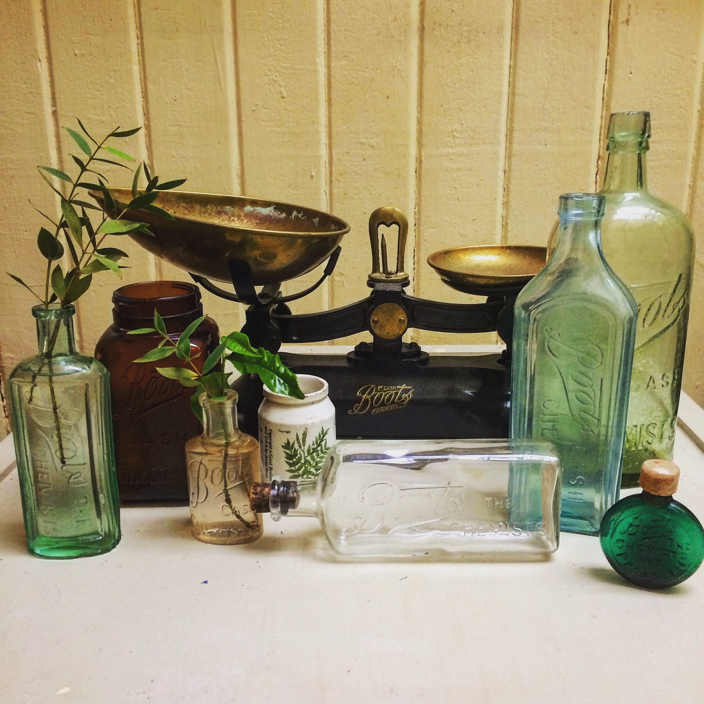 Original Boots apothecary bottles and scales.JPG