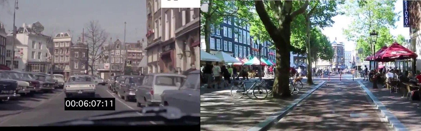 Rembrandtplein in Amsterdam 1960s vs. 2019 — Radical change in cities is possible! — courtesy @hackneycyclist