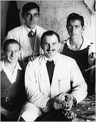 Havel (front in white coat) with fellow engravers. Retrieved December 19, 2016. nytimes.com