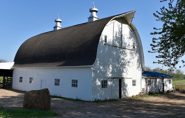 The Fred and Rosa Fulton Barn, a historical barn in Iowa, features two cupolas with weather vanes.