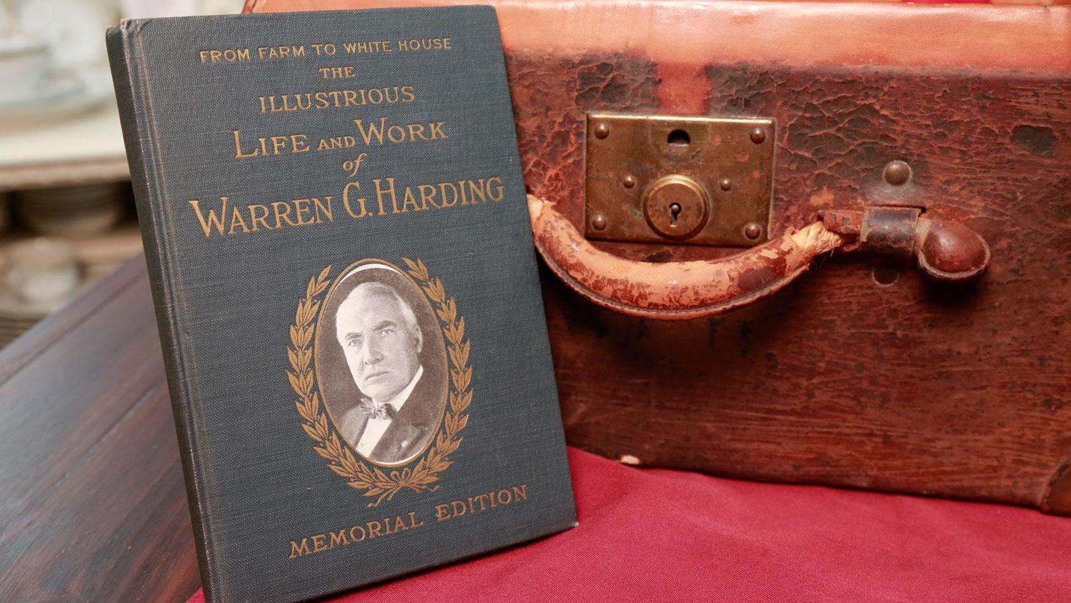 The Illustrious Life and Work of Warren G. Harding and hat box with the initials WGH