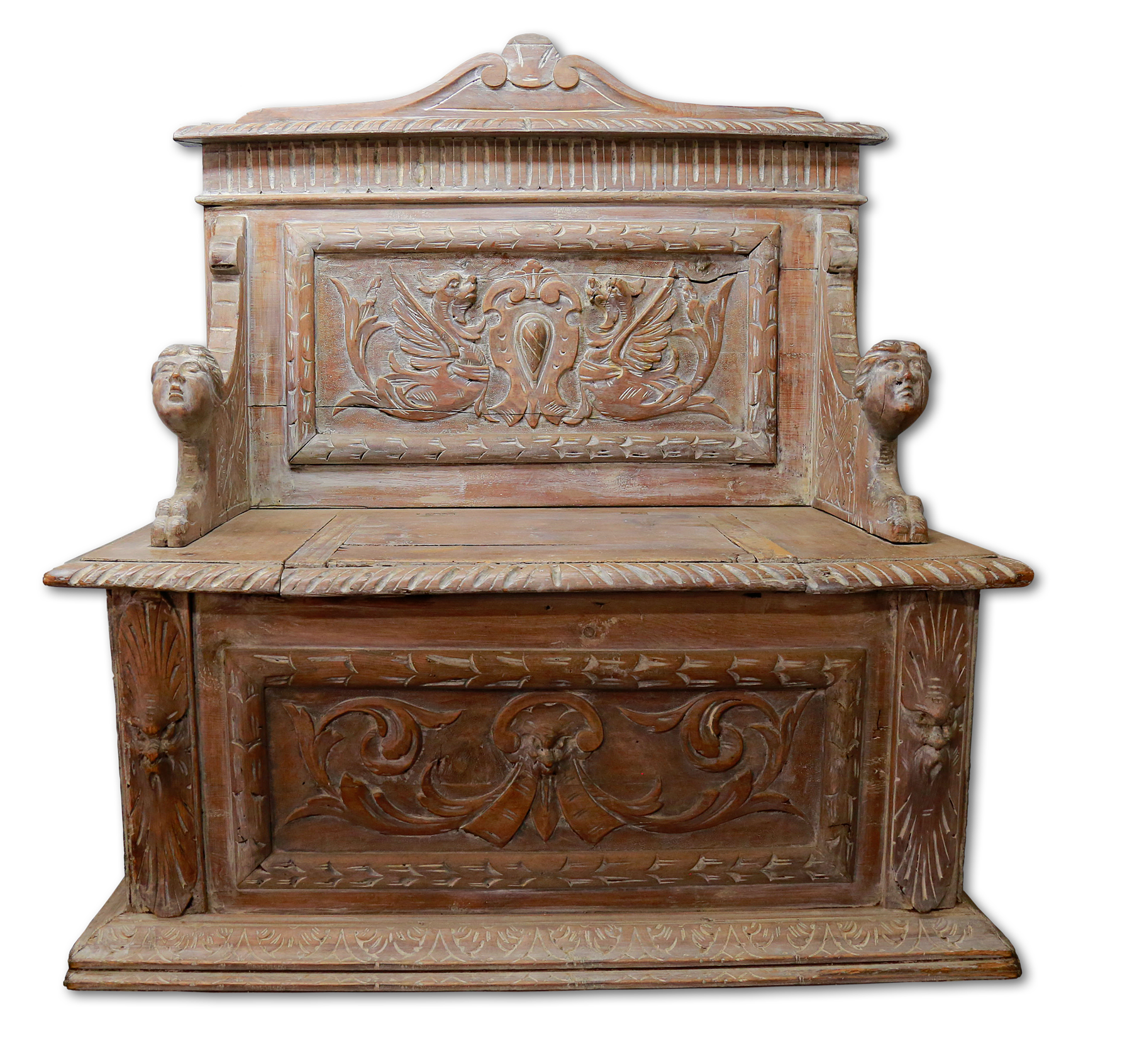 Detailed carving on sideboard