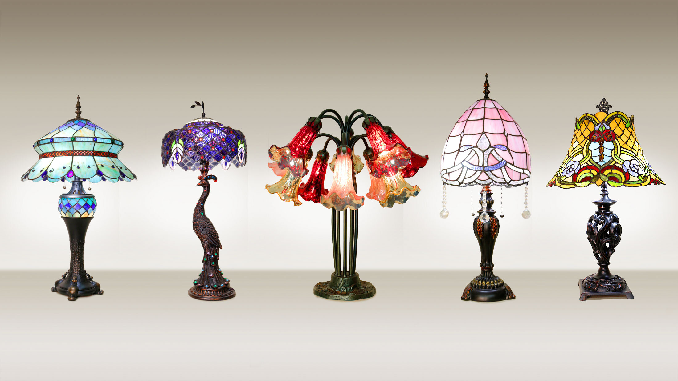 Beautiful reproduction stained glass lamps
