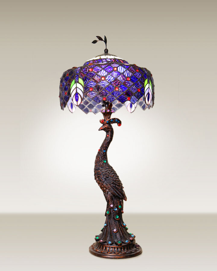 Precious peacock stained glass lamp