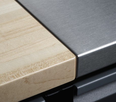 """COUNTERTOPS -Built to last, not just to look good. Choose from sealed, 1.5"""" solid maple butcher-block tops or steel (stainless or galvanized) over a finish-grade plywood core."""