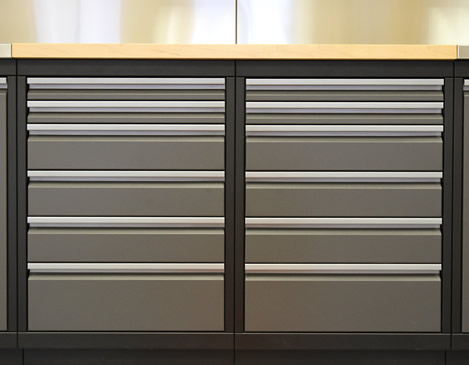 WORKBENCH BASE CABINETS - What will you be storing? Our drawer cabinets are perfect for storing tools and with our drawer liners everything is sure to stay in it's place.Our workbench cabinet selection ranges from one drawer all the way up to nine drawers. Available in 18-, 24-, 30- and 36-inch widths.