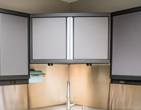 CORNER CABINETS - Are you puzzled with how to deal with the corners in your garage?Wrap your workbench from one wall to the other with our 45-degree corner cabinet or blind corner cabinet.
