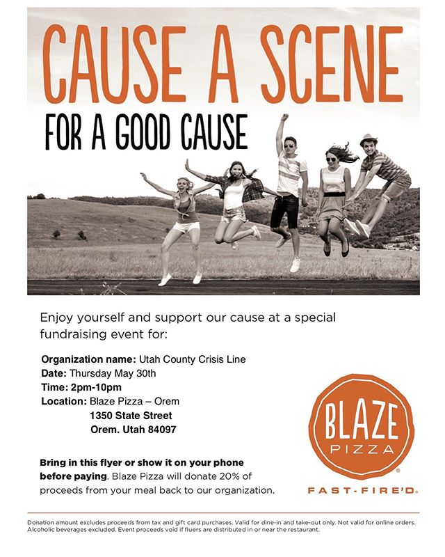 🎉EVERYONE!! 🎉We are so grateful and excited for Blaze Pizza 🍕helping us out! On Thursday May 30th, Blaze Pizza will donate 20% of its proceeds back to our nonprofit organization! Make sure you print off this flyer and bring it with you to show at the cash register! We're excited to see you all there from 2:00-10:00pm!! • • • • #crisislifeline #blazepizza #blazepizza🍕 #fundraiser #Utah #utahcounty #utahhelp #mentalhealthawareness #utahmentalhealth #nonprofit #nonprofitorganization
