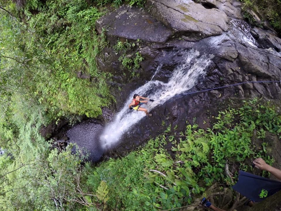 Meeting @exploring_the_808 for the first time, rappelling waterfalls.