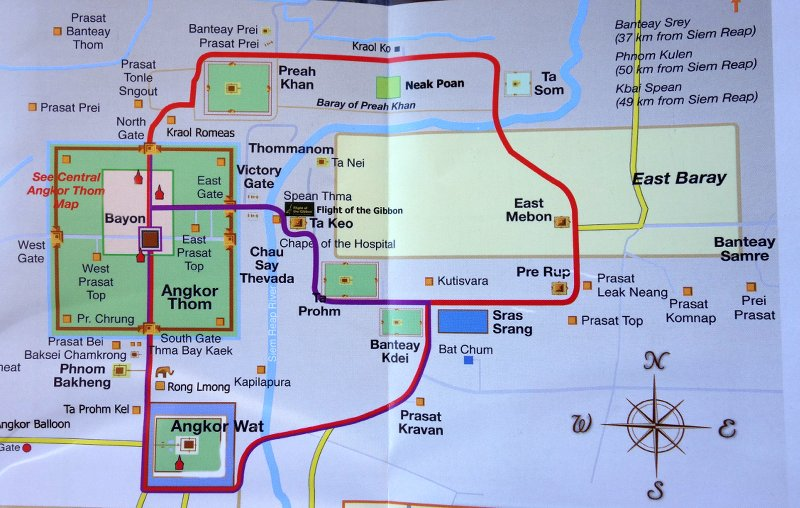 The purple line is the small loop. The red line is the big loop and goes to twice as many temples.