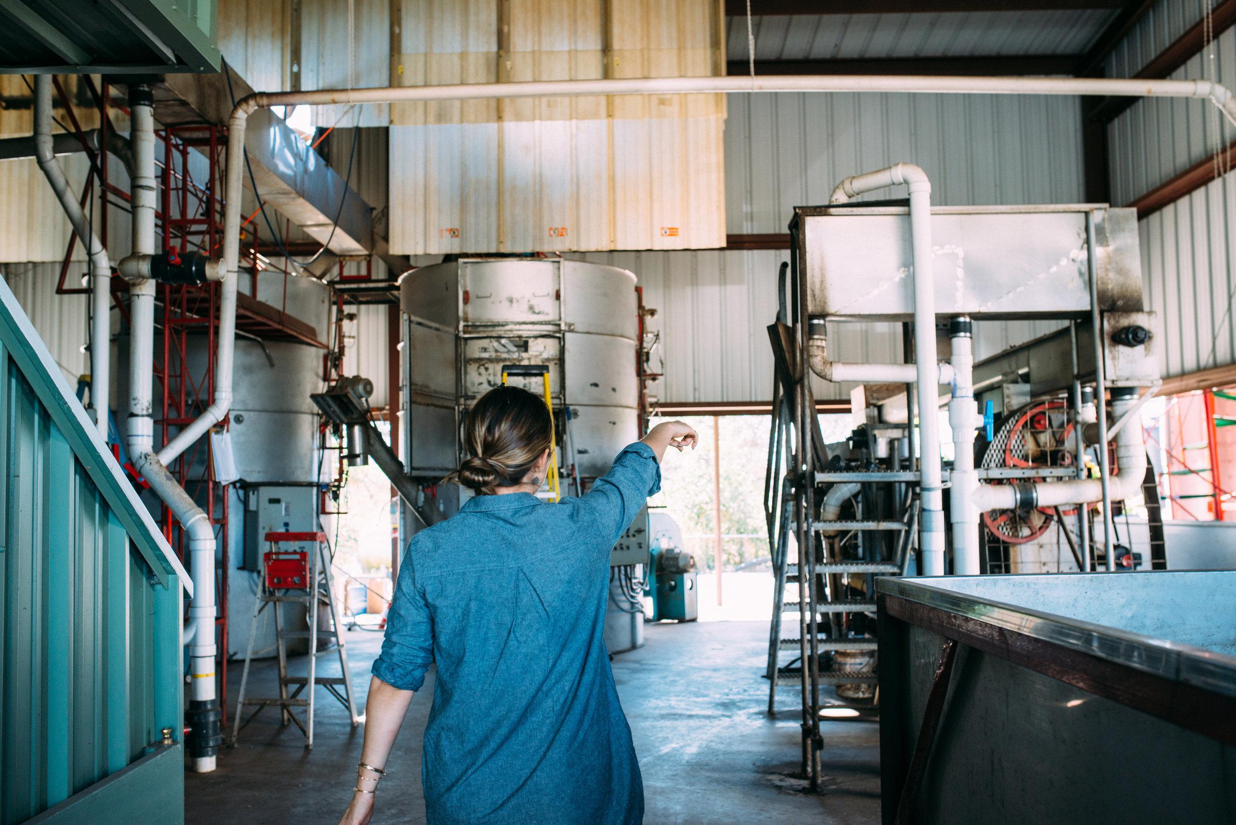 Malia giving a tour of the Kona Coffee & Tea Mill. PHOTO: Blake Wisz