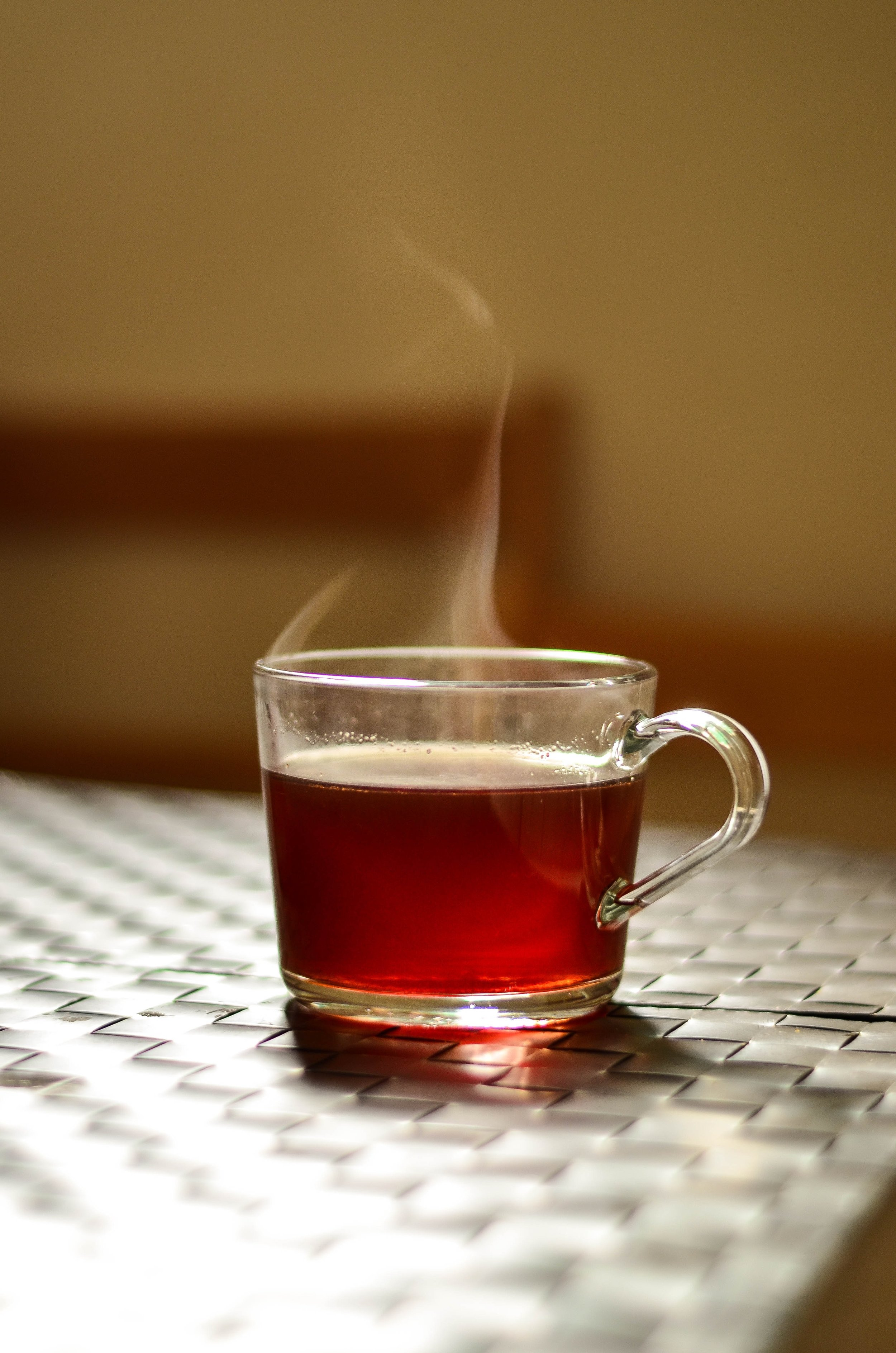 Brewed Mamaki tea is a rich red hue.