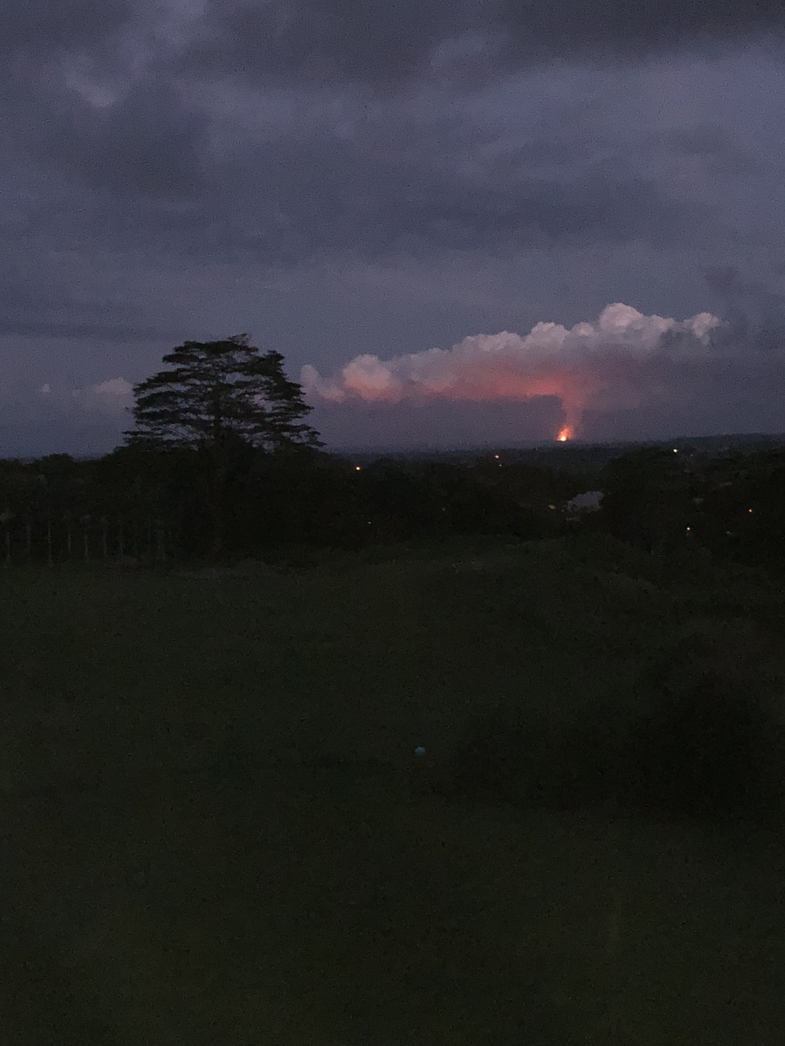 View of fissure 8 plume from Hilo at dusk (26 miles away) PHOTO: Dayva Keolanui