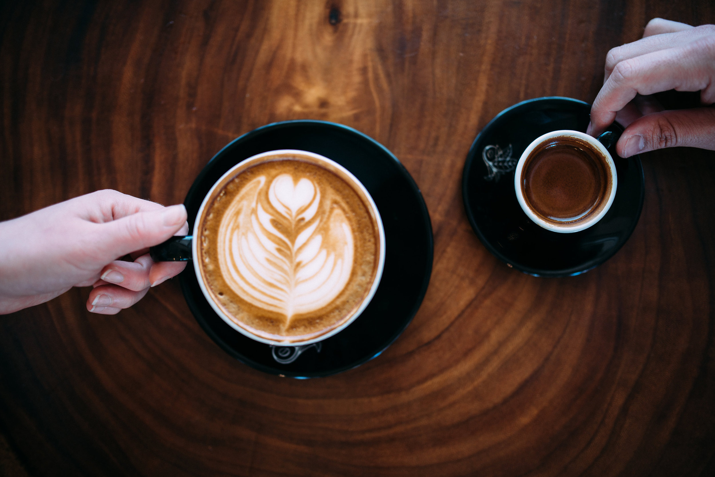 A Latte (coffee and milk) vs. an espresso shot have different amounts of caffeine. PHOTO: Blake Wisz