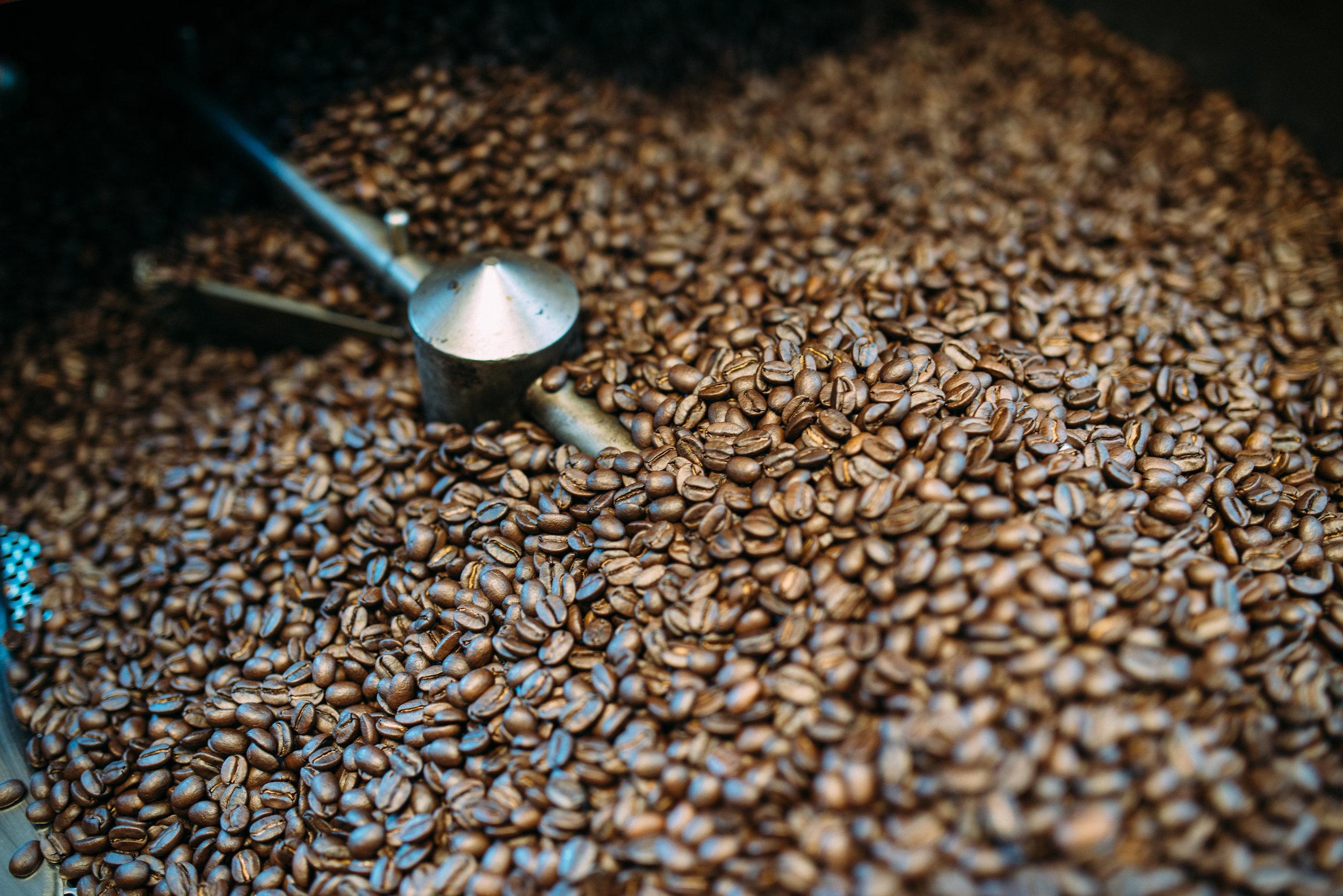 100% Kona Coffee beans being roasted at the Kona Coffee & Tea mill. PHOTO: Blake Wisz