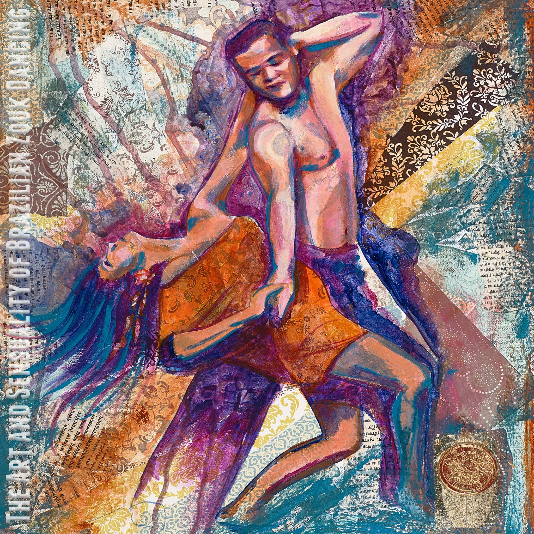 Marie's mentioned book cover ; a portrait of Marie & Alex Chang dancing Zouk painted by Stephanie Bolton