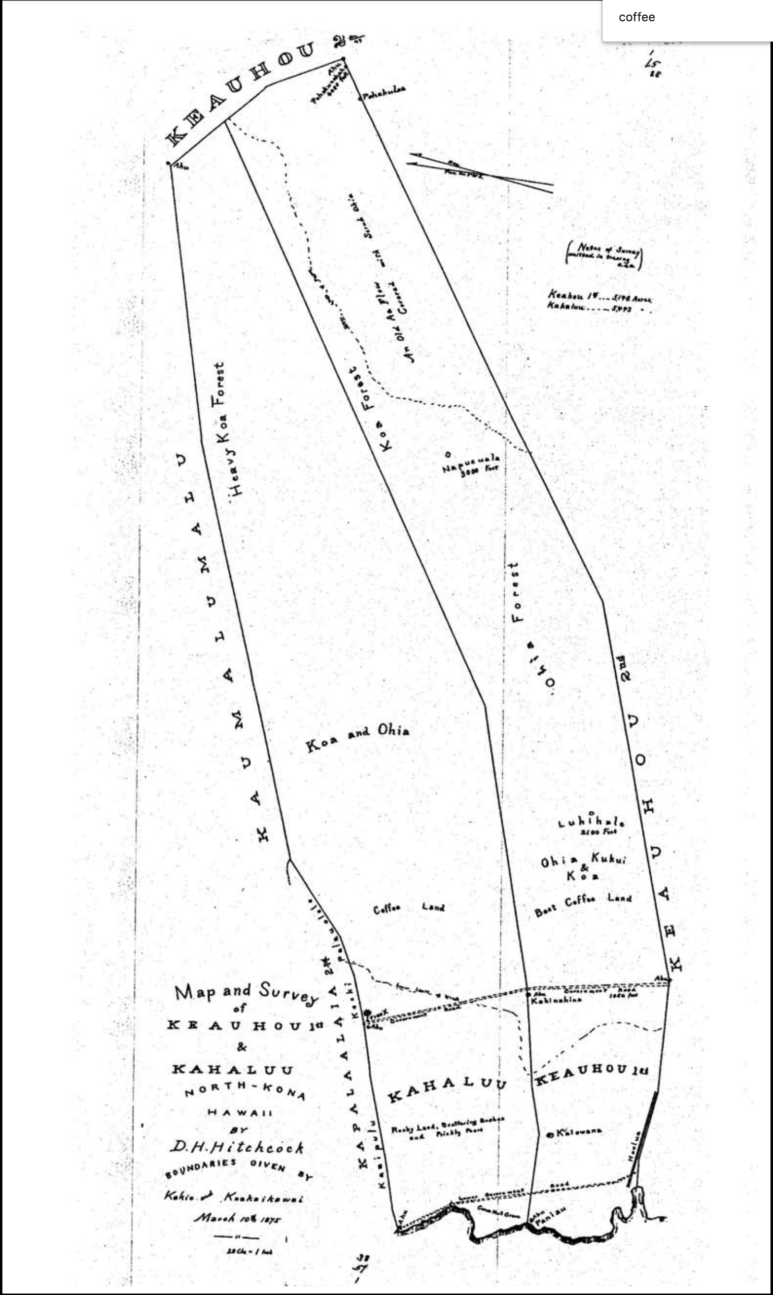 Map and Survey of Keauhou 1st & Kahaluu. North Kona, Hawaii. D.H. Hitchcock (1875) Boundaries according to Witness Testimonies before the Boundary Commission Bishop Estate Map No 38
