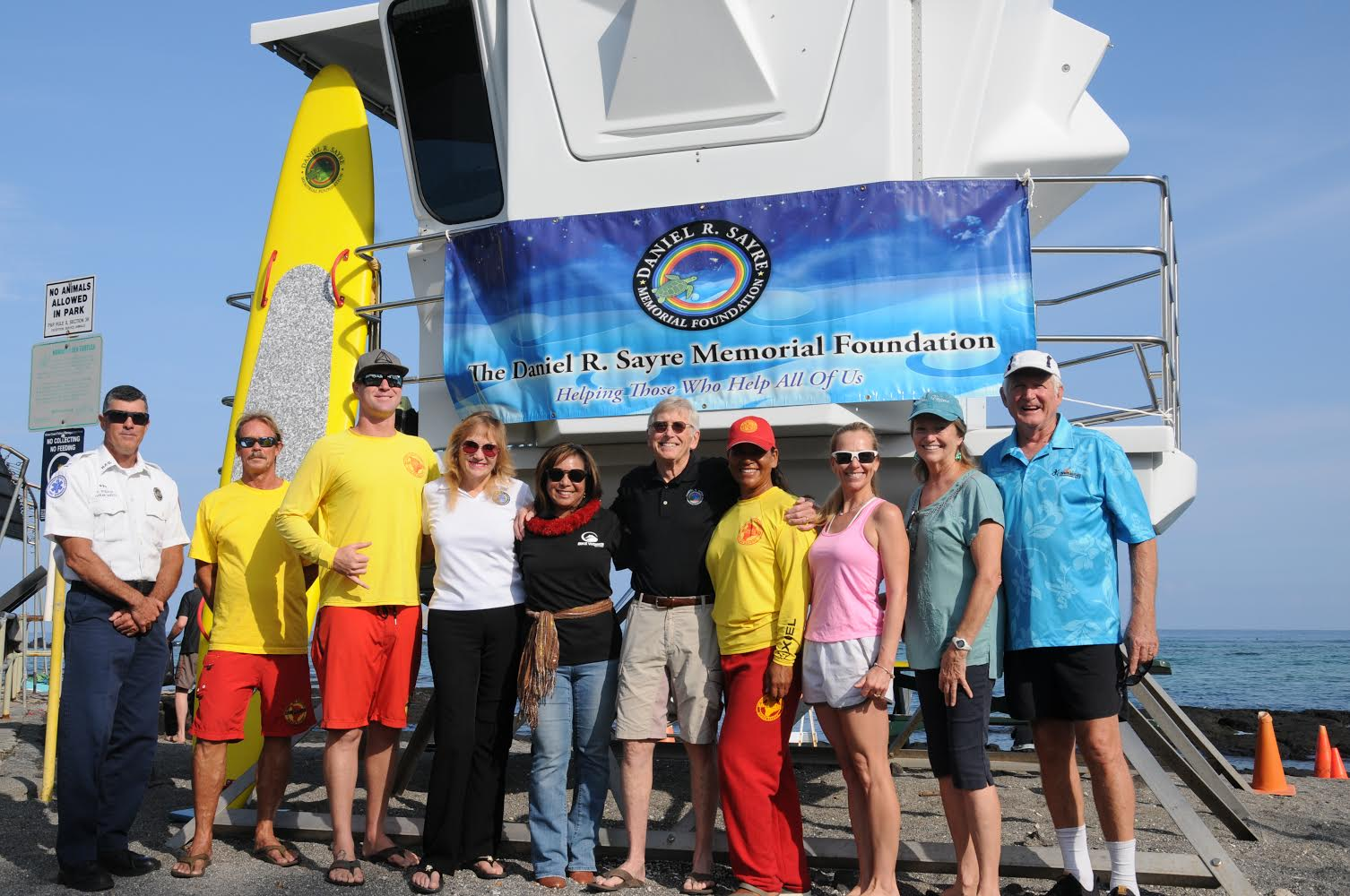 The Daniel R. Sayre Memorial Foundation at the donation of a PA system to Hawaii County Lifeguards. PHOTO: Eric J. Frankied