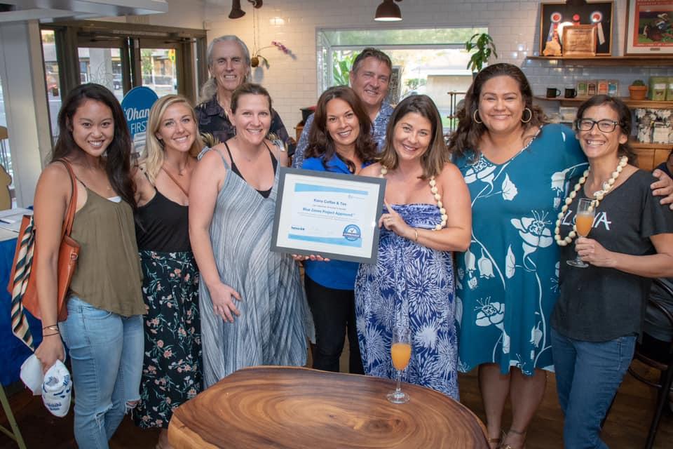 L-R: Michelle Nip, Kayla Dong, Franz Weber, Stephanie Daniels, LeeAnn Heely, Will Rolston , Malia Bolton Hind, Kirsten Kahaloa, Cherie Griffore. PHOTO: Blue Zones Project