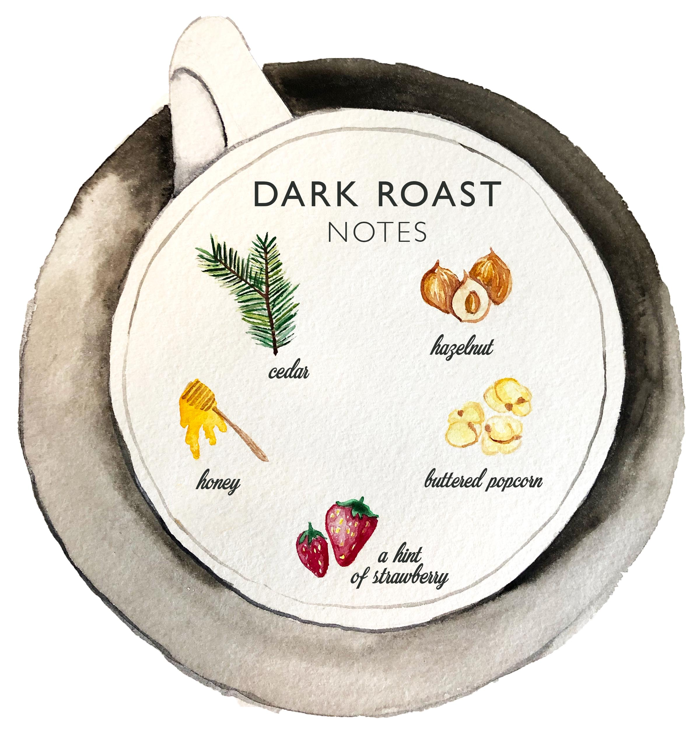 Kona Coffee & Tea's 2019 dark roast has notes of cherry, chocolate, buttery maple, raw almond, peaches, and clove. ART: Dayva Keolanui has notes of cedar, hazelnut, honey, buttered popcorn, and a hint of strawberry. ART: Dayva Keolanui