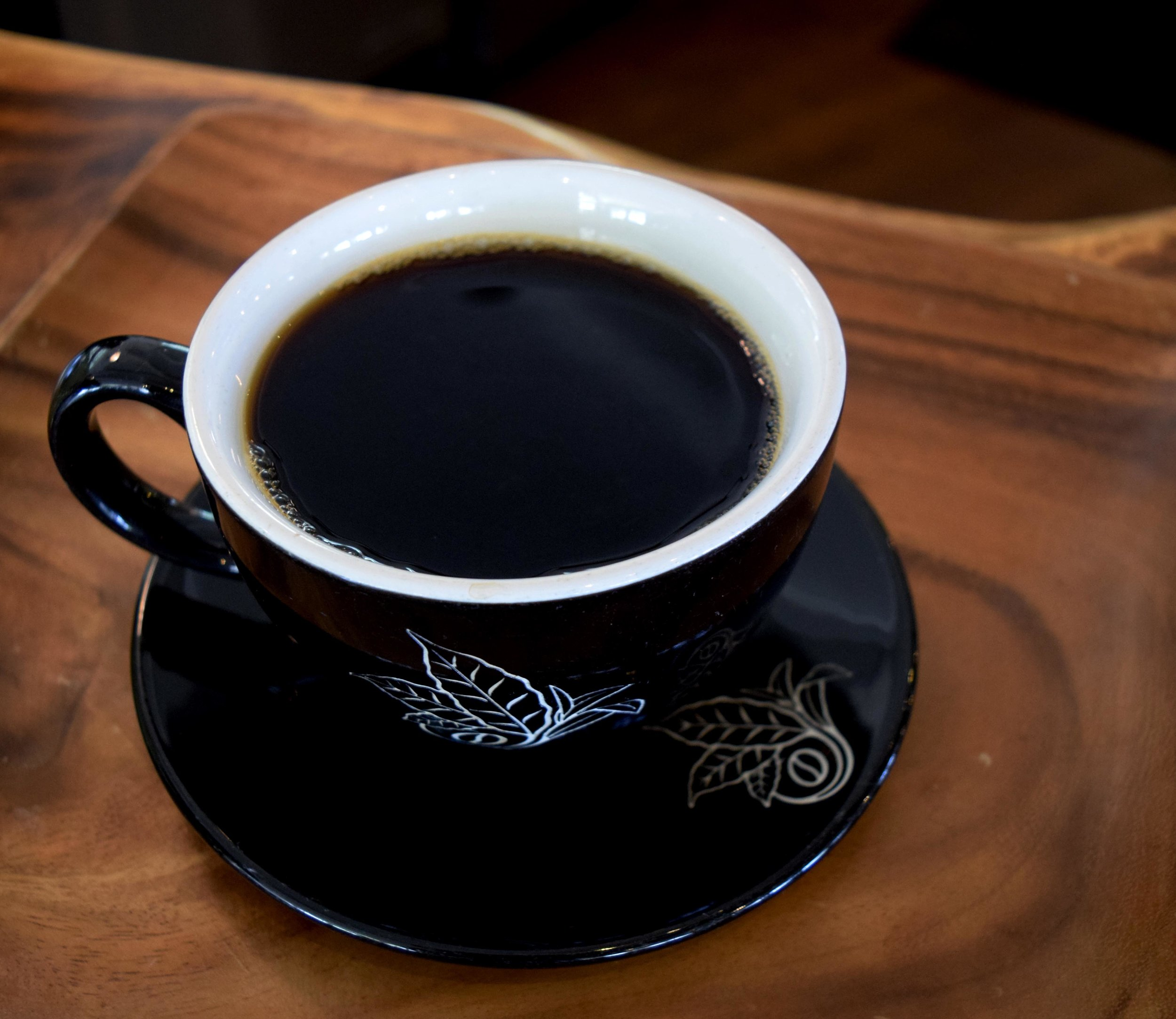 A cup of black medium roast 100% Kona coffee. PHOTO: Dayva Keolanui