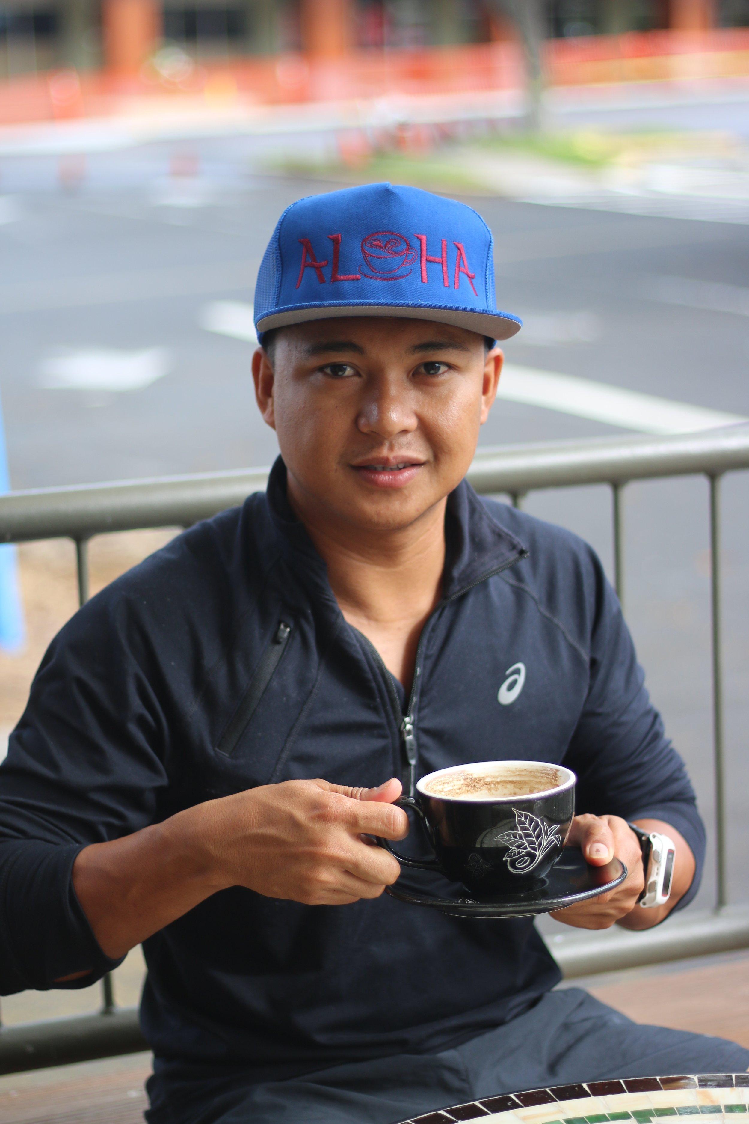 Cisco enjoying his 100% Kona cofee after training. PHOTO: Chance Ortiz