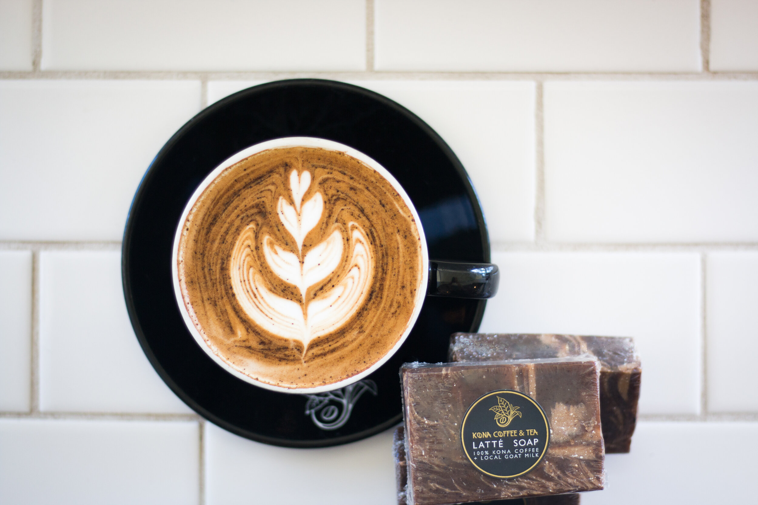 Our Latté Soap is made with 100% Kona Coffee & Tea Strong Brewed Coffee, Olive Oil, Coconut Oil, RSPO Palm Oil, Avocado Oil, Sunflower Oil, Castor Oil, Big Island Goats Milk, Titanium Dioxide, Coffee Grounds, and Hawaii Sea Salt. Phalate Free Fragrance. PHOTO: Chance Ortiz