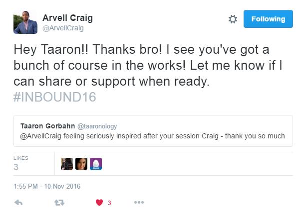 @ArvellCraig hit me up on Twitter after his presentation!