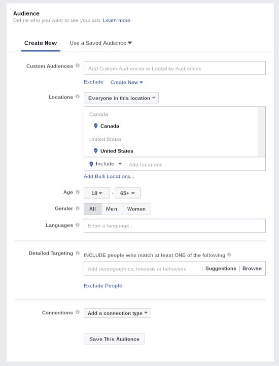 Audience targeting in Facebook Ads