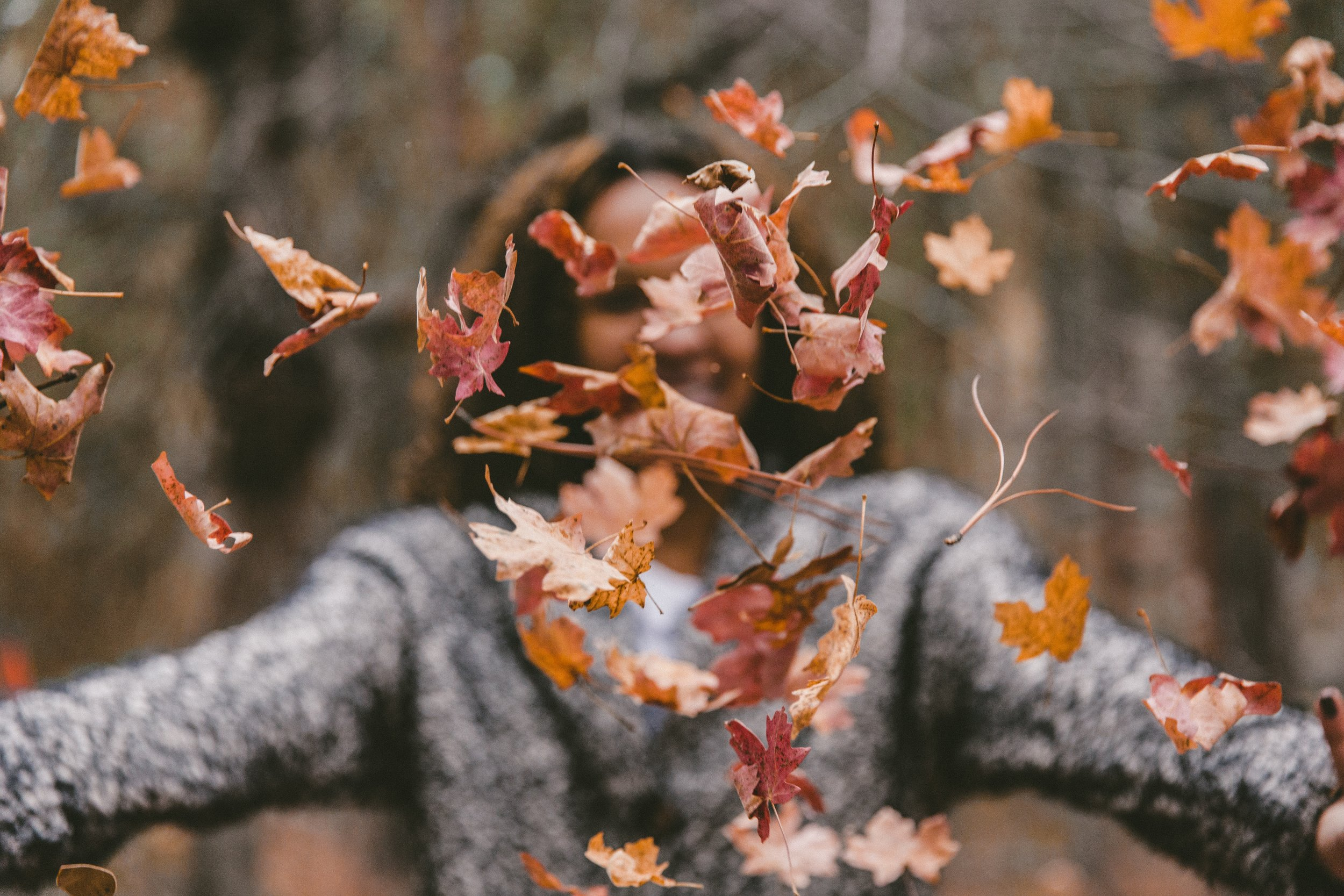 girl throwing leaves, autumn, fall