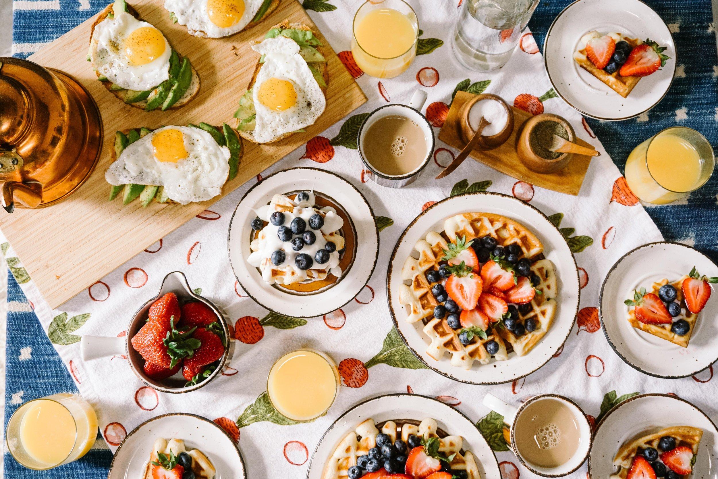 breakfast food, waffles, eggs, fruit