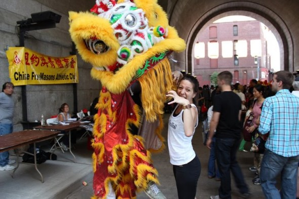 Mickela Mallozzi with the Chinese Dragon from the NY Chinese Freemasons Athletic Club