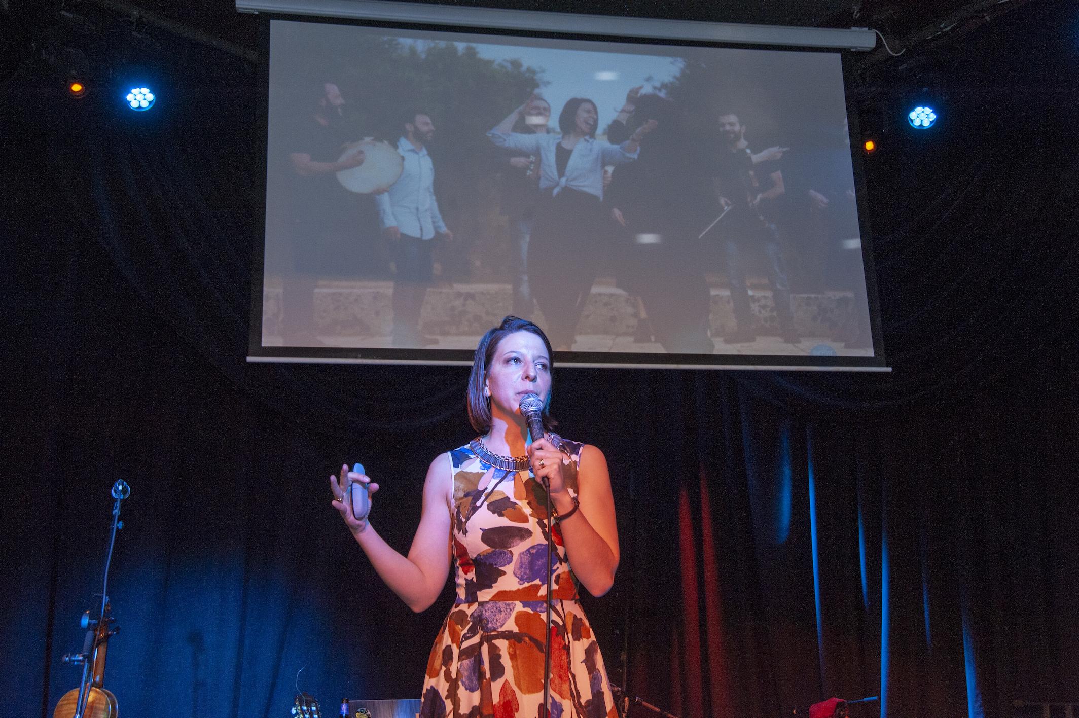 Mickela presenting a screening of Bare Feet Season 3 (photo by Shoot My Travel)
