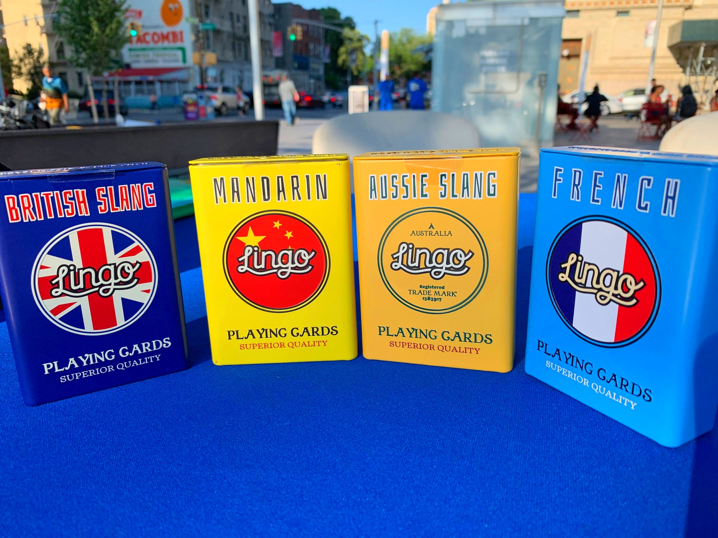 Each Lingo deck comes with 54 custom playing cards, available in Spanish, French, Italian, German, Japanese, Mandarin, Maori, Indonesian, British Slang, Aussie Slang and Kiwi Slang.