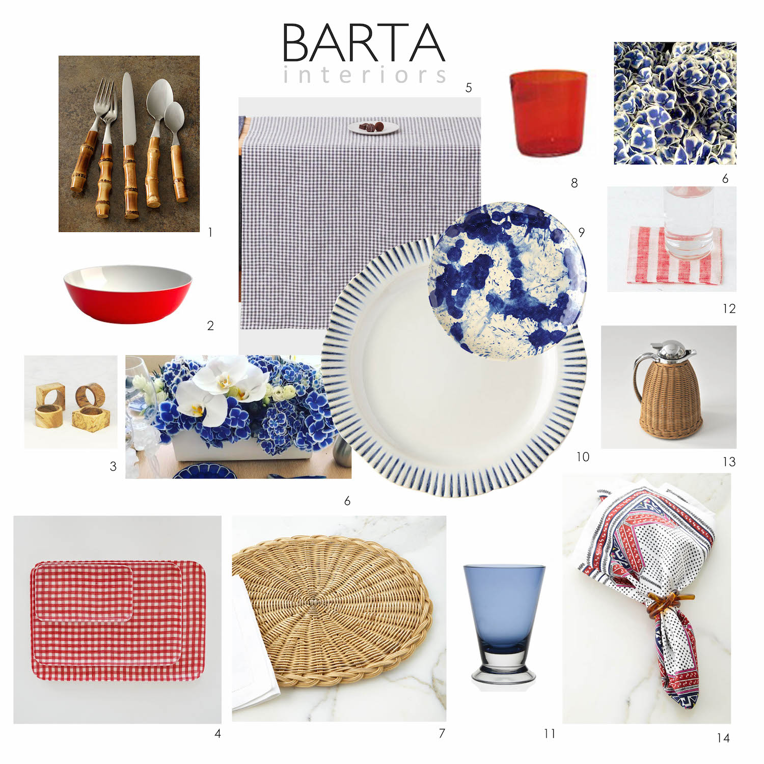 Traditional Home   Check out Barta Interiors round up of Labor Day table top ideas