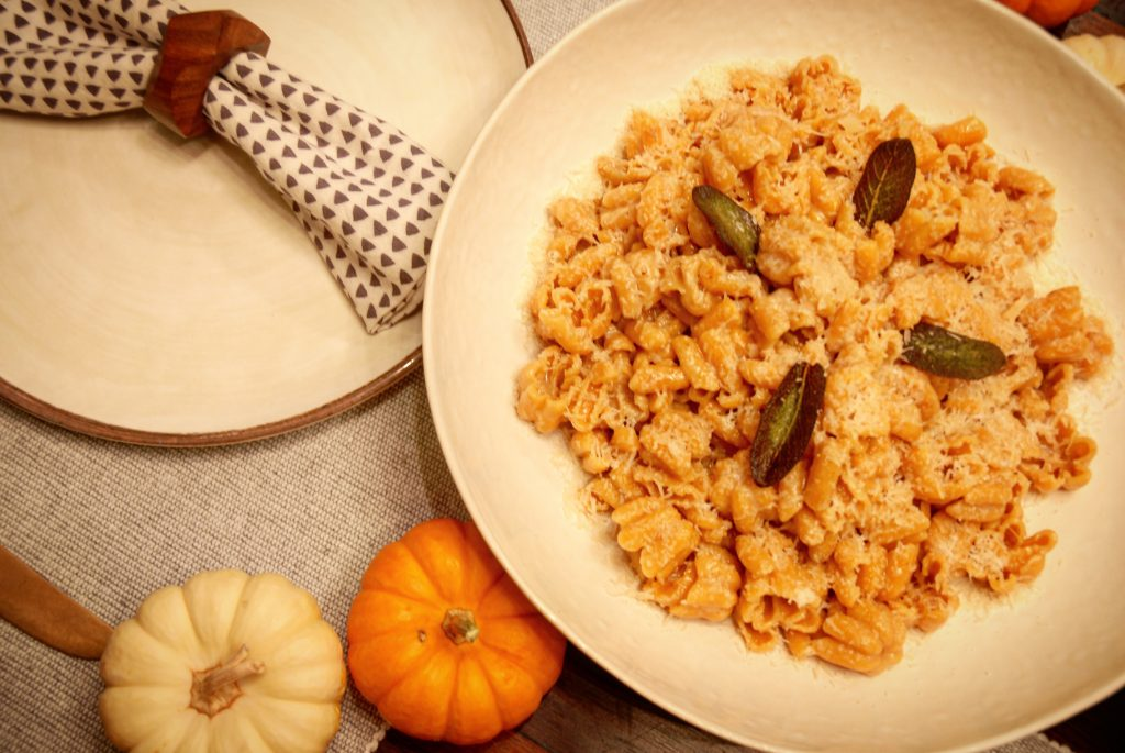 Meatballs and pasta, fruit and veggies is a dish often created for our busy families. Tonight I wanted a version us adults can enjoy as well. Here is the pumpkin pasta I found at Trader Joe's cooked in brown butter, sage and Parmesean Reggiano. Delish!