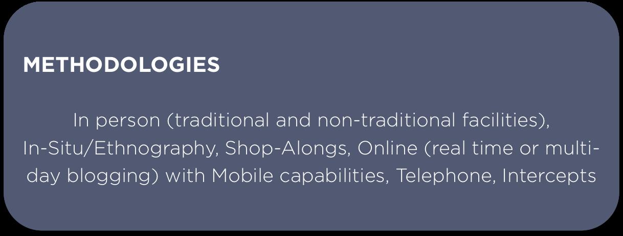 jesse caesar, focus groups, shop along, ethnography, mobile focus groups, online focus groups, digital focus groups, telephone interviews, intercepts