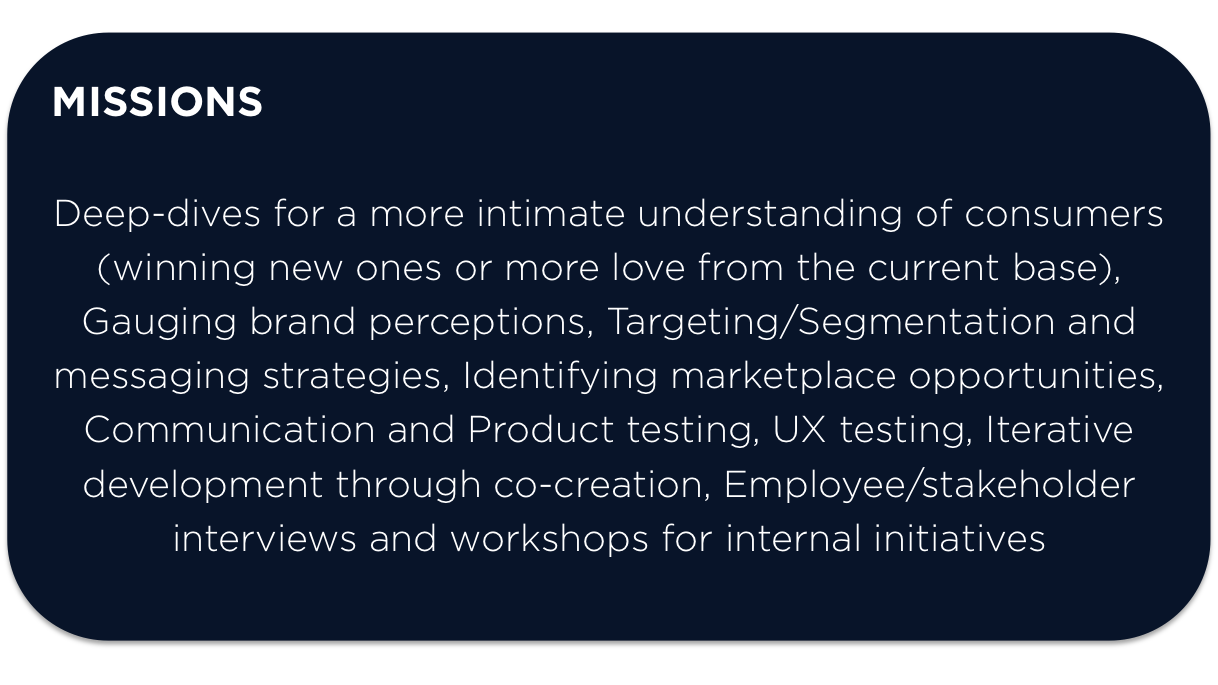 jesse caesar, consumer understanding, brand strategy, stakeholder employee interviews, ad testing, communication testing, targeting, segmentation, product testing, ux testing, creative workshop, co-creation, message testing