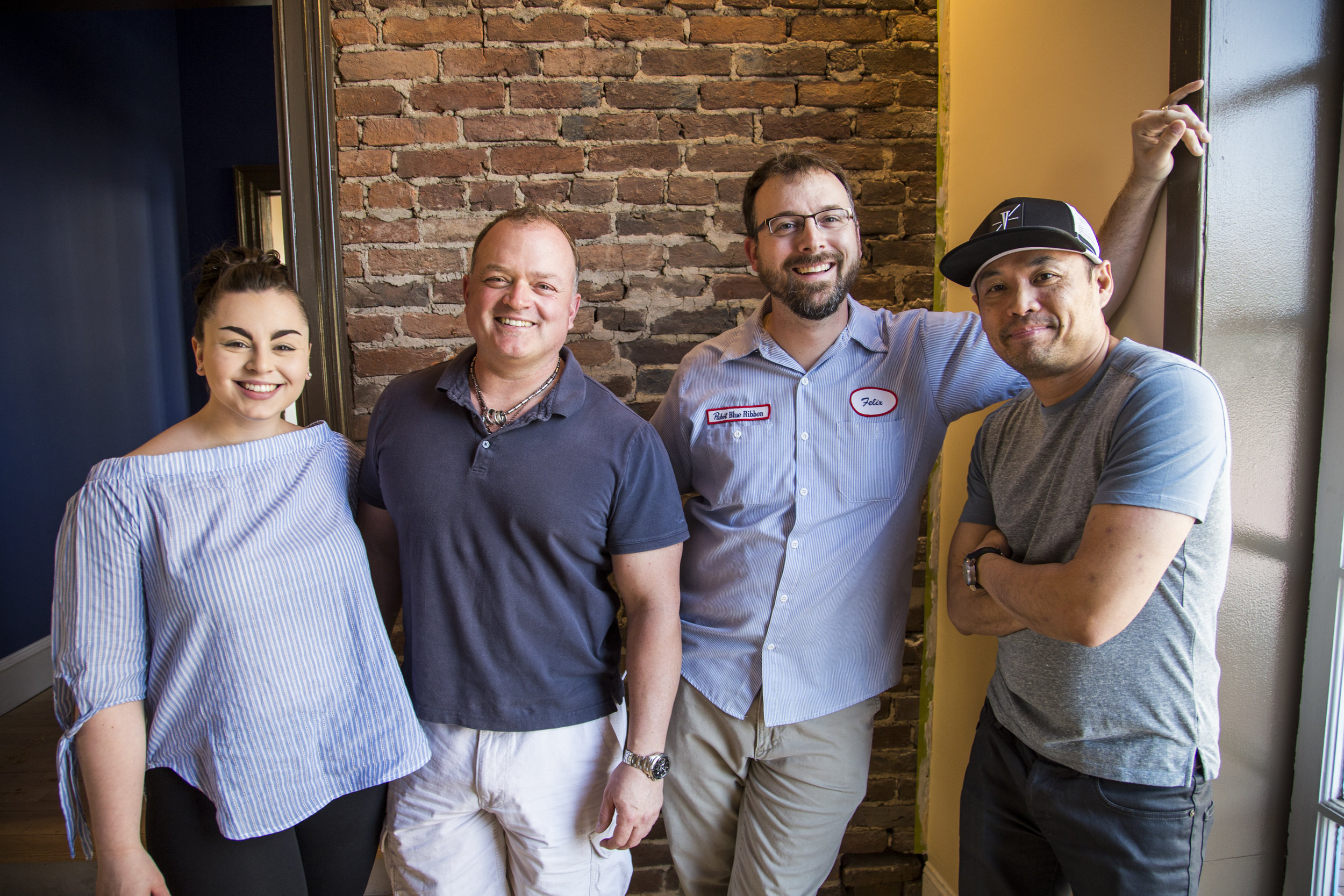 Delirium Team, L to R: Aislin Kavaldjian, AGM; Rick Leith, Partner; Curtis Allred, Proprietor; Vi Nguyen, Chef  Credit Alex Mangione Photography