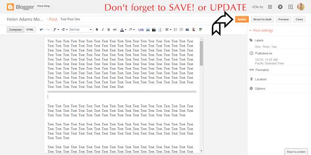 An ELLE Tutorial: Truncating Your Posts on your Blogger Blog - Step 4 | Update & Save