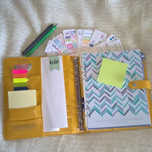 My girl scout notebook is housed in a Carpe Diem binder.  Girl Scout troop leaders, co-leaders and moms! Listen up! I have found an awesome way to keep my girls and my troop organized! And... I am sharing all my secrets, tips and tricks in T H I S blog post, right N O W! Come on by and check it out! | planning | girl scouts | girl scout troops | girl scout organization | troop organization | plum paper | plum paper planner | carpe diem planners