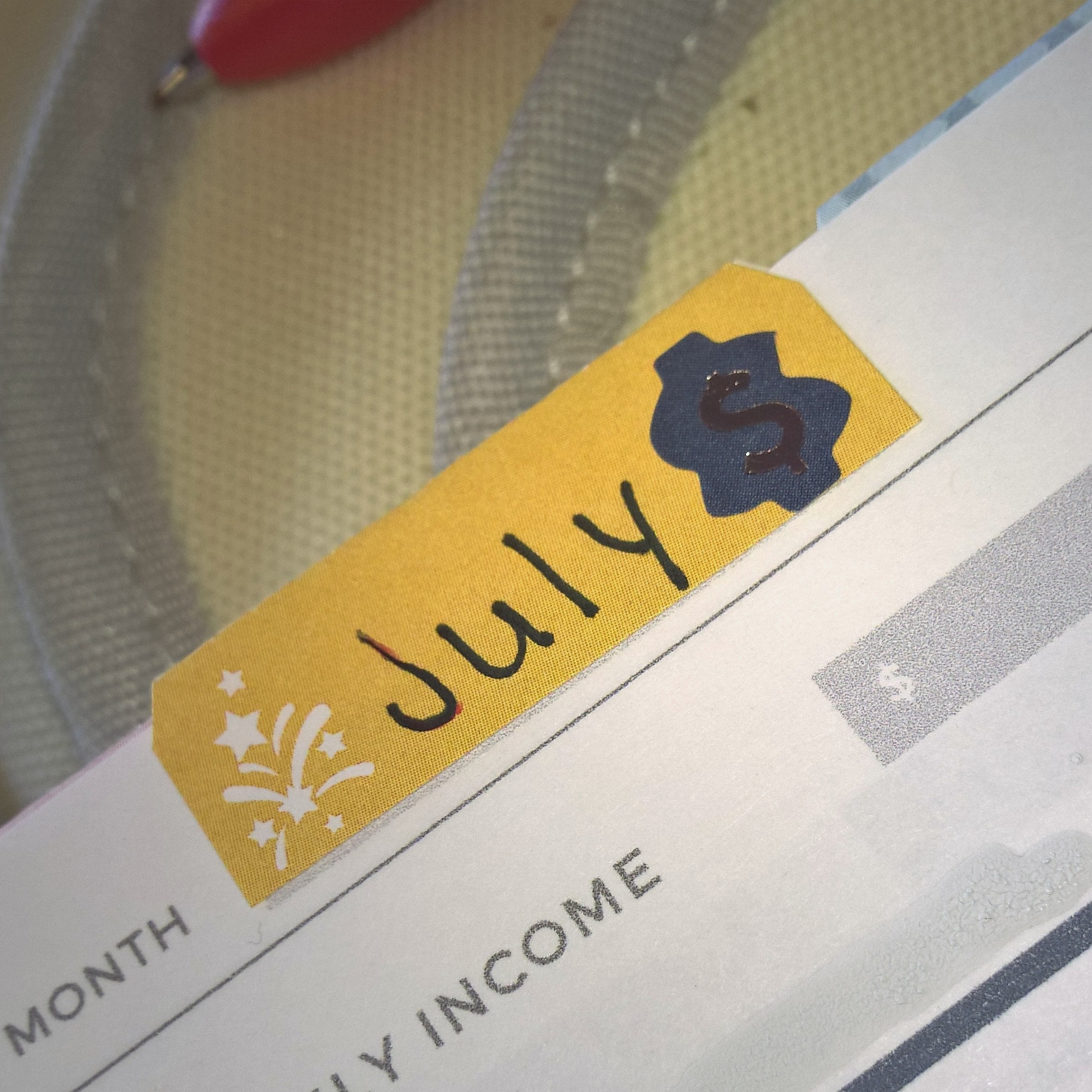 Budget Page (dispersed) section of July in my Plum Paper 7x9 Vertical Lines Family Management Planner | July Plum Paper Walkthrough
