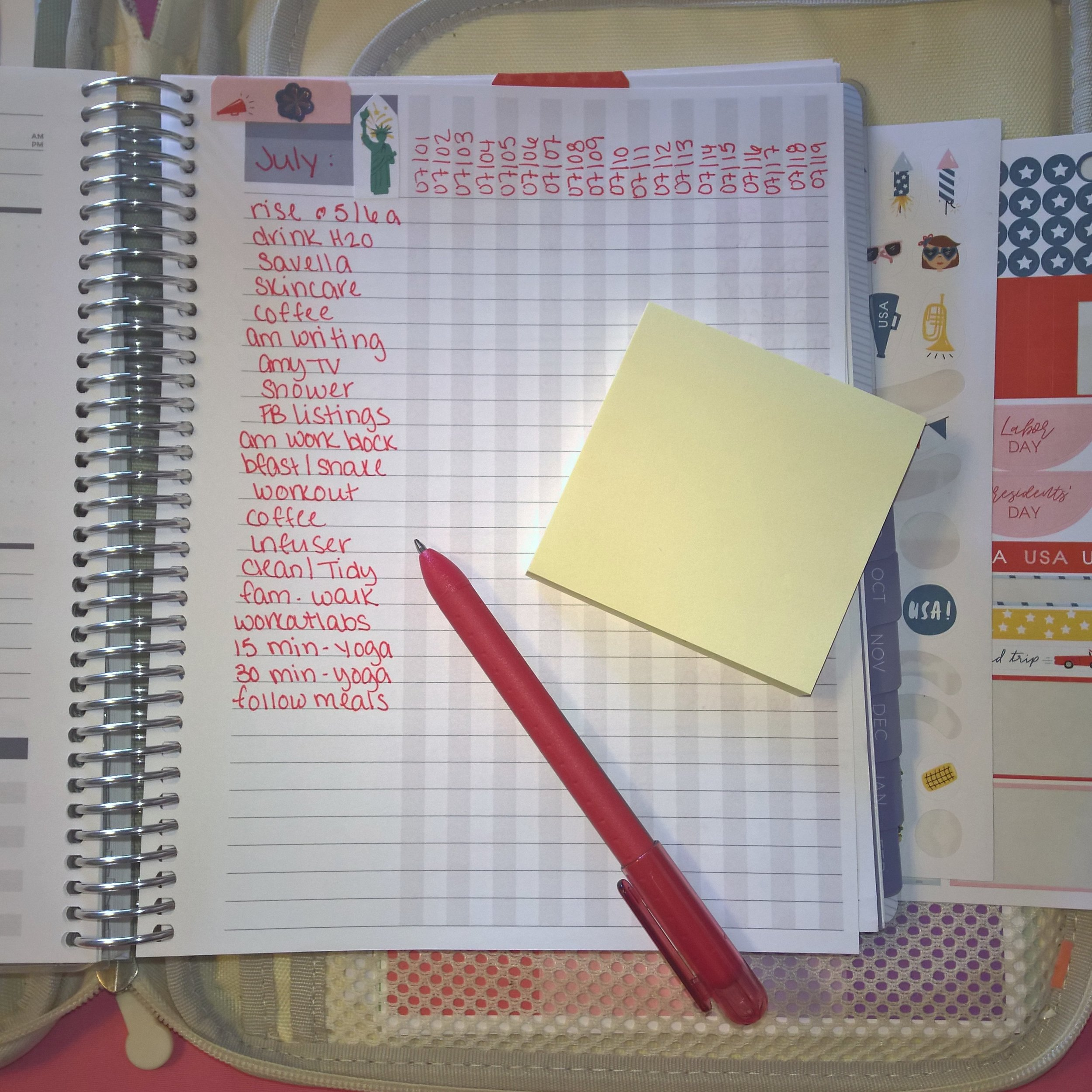 Checklist Page - I use this for specific tasks that I take on Daily - (dispersed) section of July in my Plum Paper 7x9 Vertical Lines Family Management Planner | July Plum Paper Walkthrough