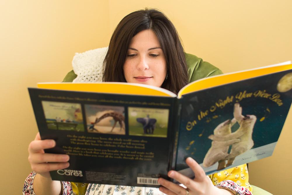 "Mom reading ""On the Night You Were Born"" | Rochester, NY Maternity Photos"