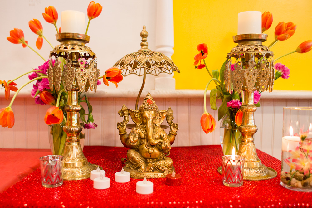Ceremony details around the statue of Ganesh | DC Hindu Wedding Photographer