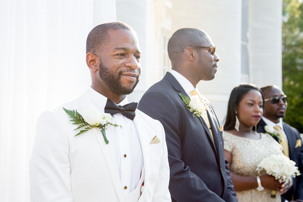 Groom watching his bride come down the aisle at DAR | Washington DC Wedding