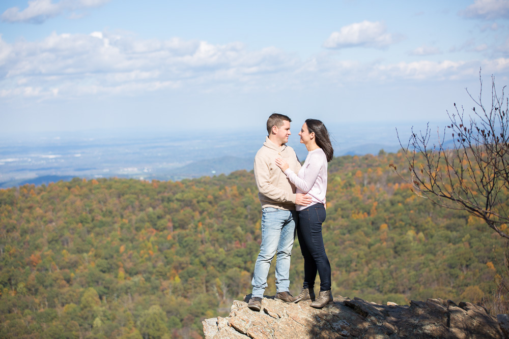 Compton Peak overlook in Shenandoah National Park | Shenandoah engagement with mountain views